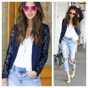 Lovers + Friends | Navy Sequined Sleeve Jacket